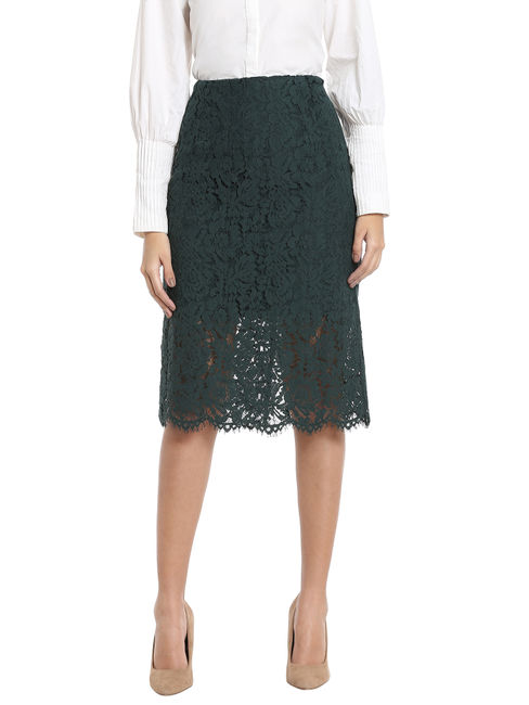 Green Lace Bodycon Skirt