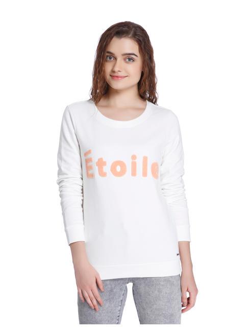 White Slogan Print Sweatshirt