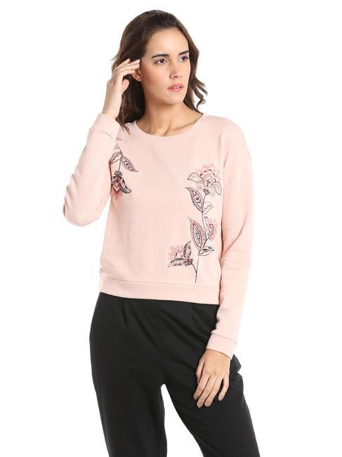 Pink Floral Embroidered Sweatshirt