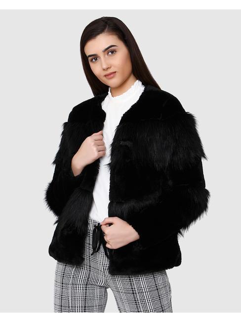 Black Faux Fur Short Jacket
