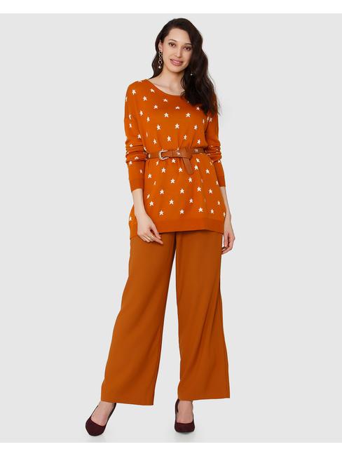 Rust Star Print Sweater
