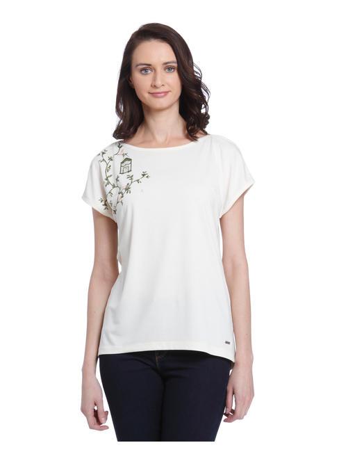Cream Leaf Print T-Shirt