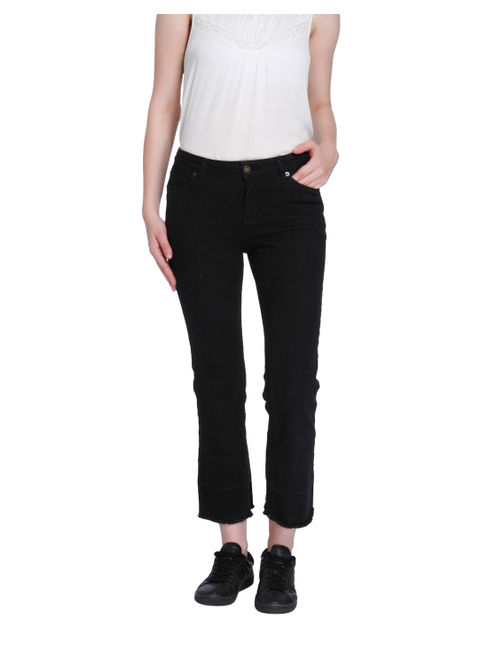 Black Mid Rise Relaxed Fit Cropped Pants