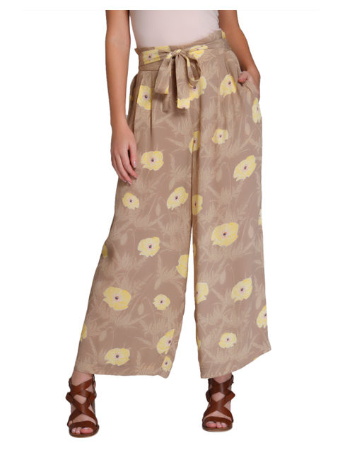 Light Brown Floral Print High Waist Flared Pants