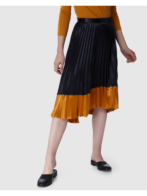 Dark Blue Colourblocked Pleated Midi Skirt