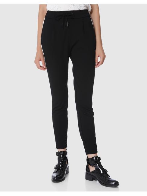 Black Piping Detail High Waist Loose Fit Drawstring Pants