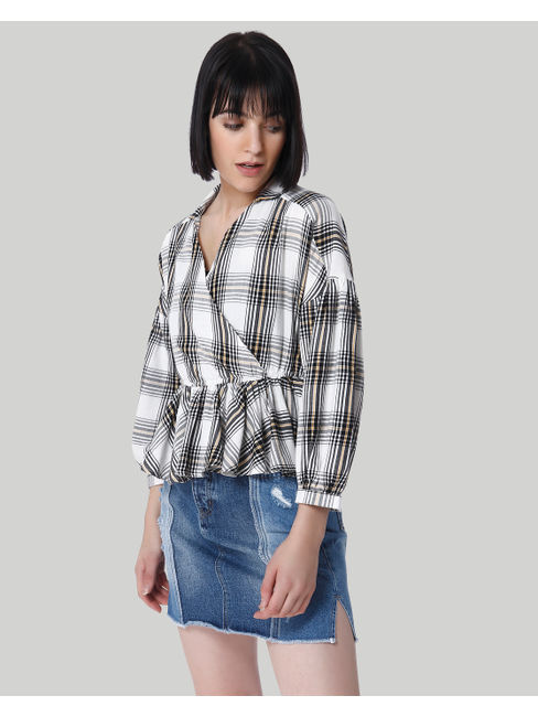 White Check Drop Shoulder Peplum Shirt