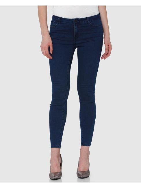 Dark Mid Rise Blue Slim Fit Jeans