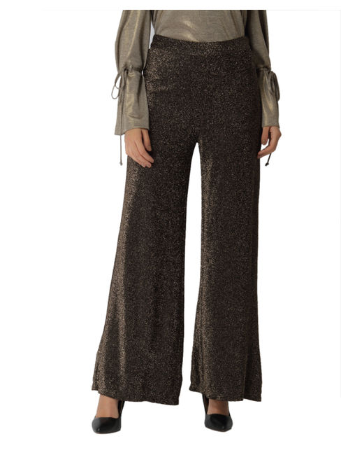 Verov Moda Gold Shimmery Flared Pants