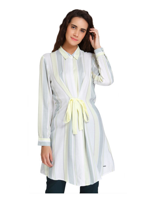 Light Green Striped Front Knot Shirt Dress