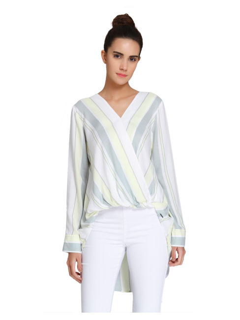 Light Green Striped Wrap High-Low Top