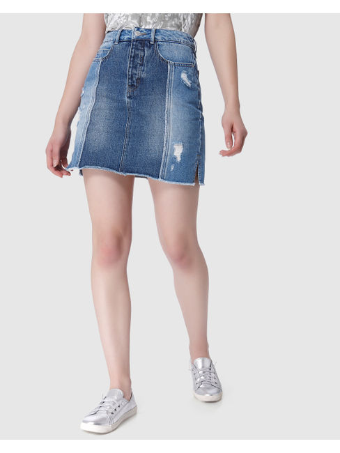 Blue Distressed High Waist Mini Denim Skirt