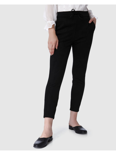 Black Faux Suede Drawstring Mid Rise Cropped Pants