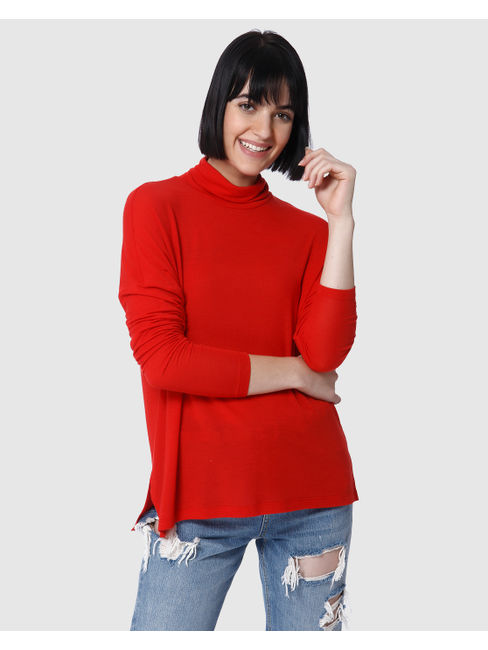 Red High Neck Sweater