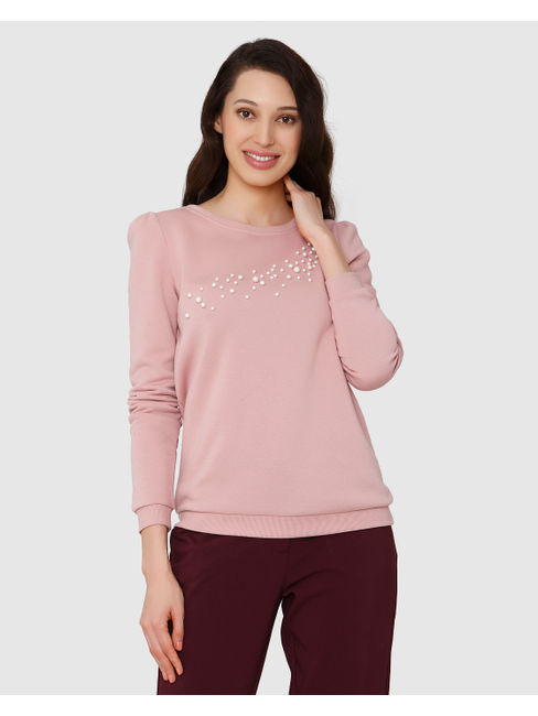 Pink Pearl Embellished Sweater