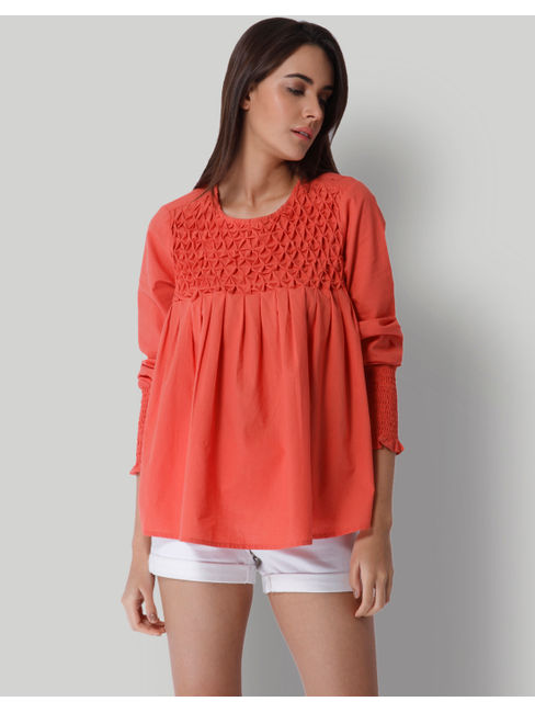 Red Maze Detail Top