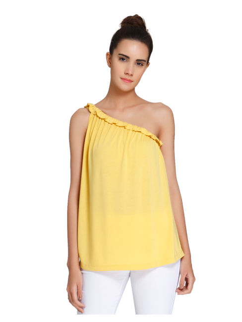 Yellow Frill Detail One Shoulder Top
