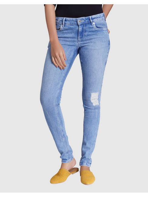 Light Blue Low Rise Distressed Slim Fit Jeans