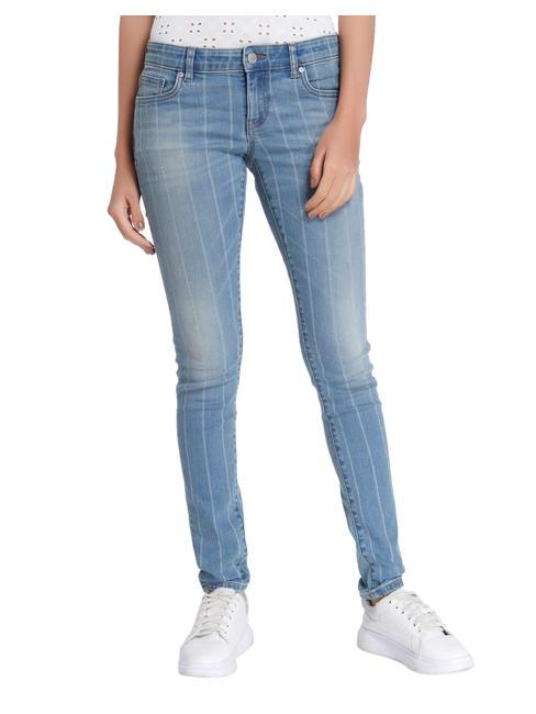 Blue Striped Low Waist Slim Fit Jeans