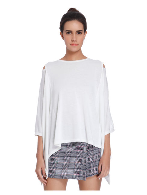White Cold Shoulder Batwing Top
