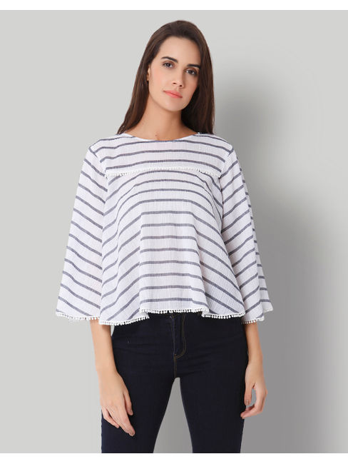 Black & White Striped Flared Sleeves Top