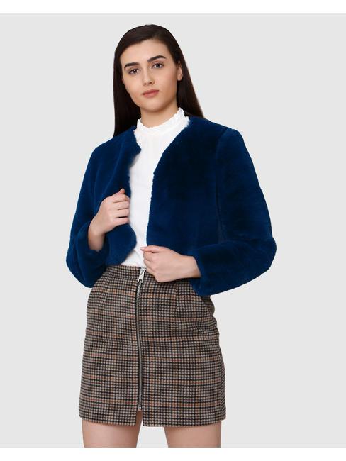 Blue Collarless Long Sleeves Jacket