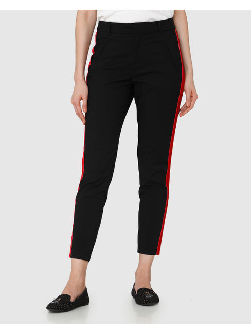Black Mid Rise Ankle Length Regular Fit Pants