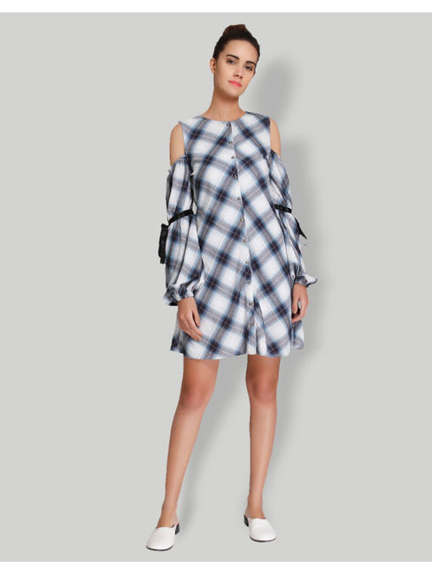 White Check Cold Shoulder Shirt Dress