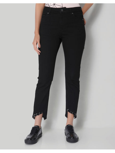 Black Normal Waist Boyfriend Jeans