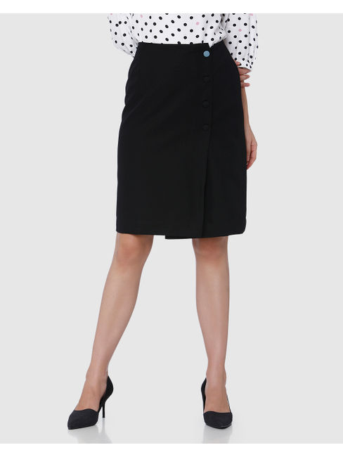Black Mid Rise Wrap Skirt