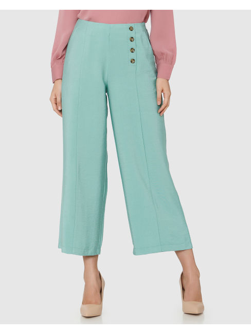 Green Mid Rise Button Detail Culottes