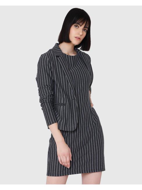 Dark Grey Striped Mini Dress