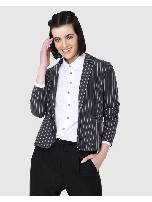 Dark Grey Striped Cropped Blazer