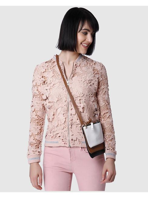 Peach Lace Bomber Jacket