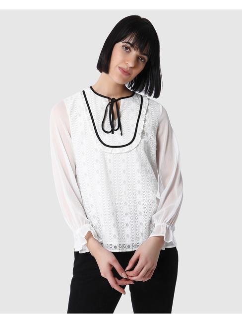 White Lace Tie Neck Top