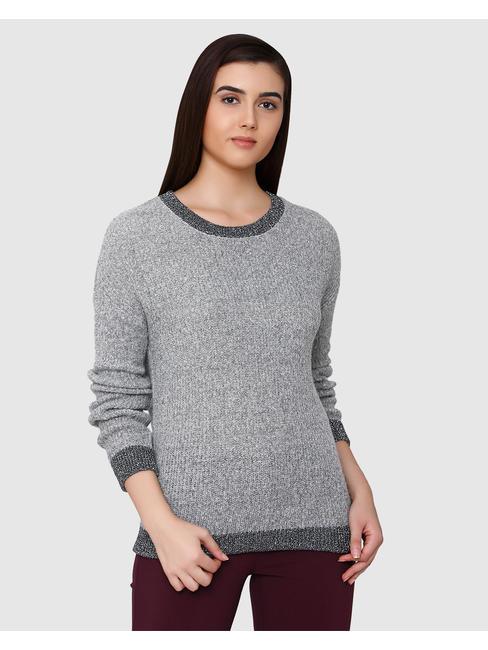 Grey Long Sleeves Flat Knit Top