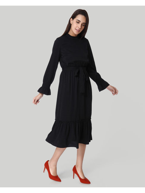 Black Self Tie Waist Midi Dress