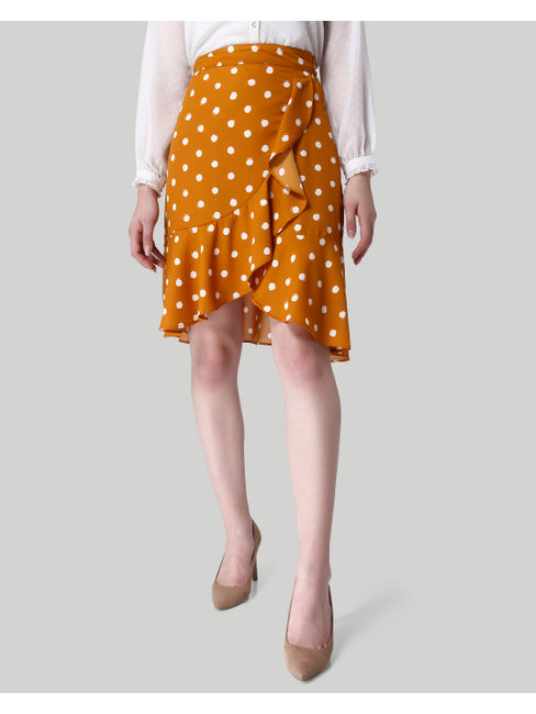 Mustard Polka Dot Flounce Skirt