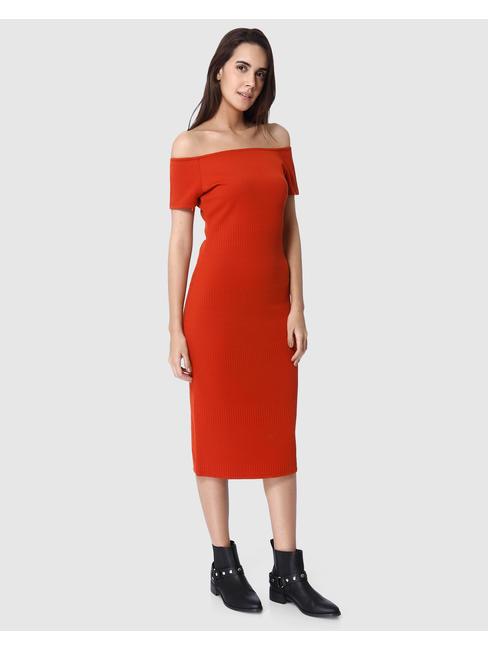 Red Off Shoulder Bodycon Midi Dress