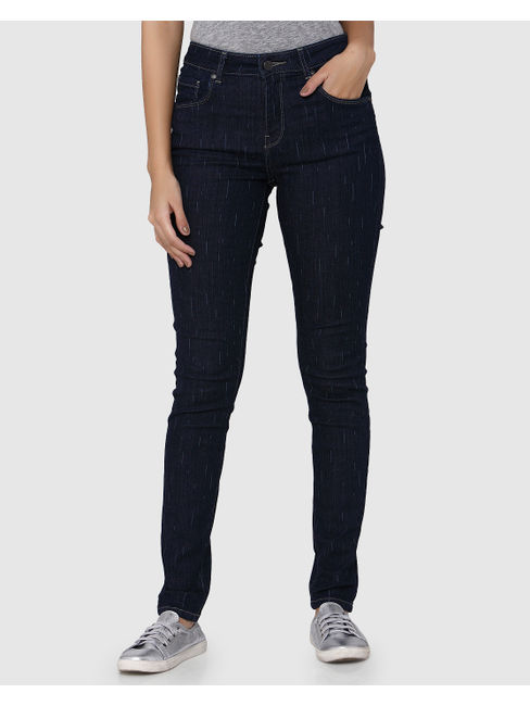 Dark Blue Lazer Stripes Mid Rise Skinny Fit Jeans