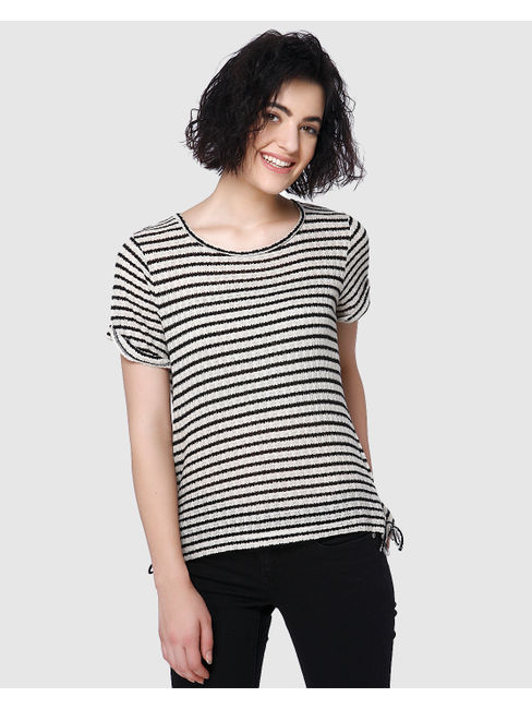 Black Striped String Detail T-Shirt