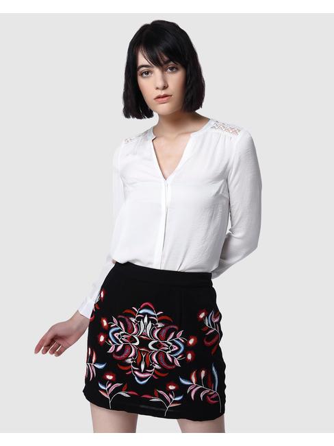White Lace Insert Shirt