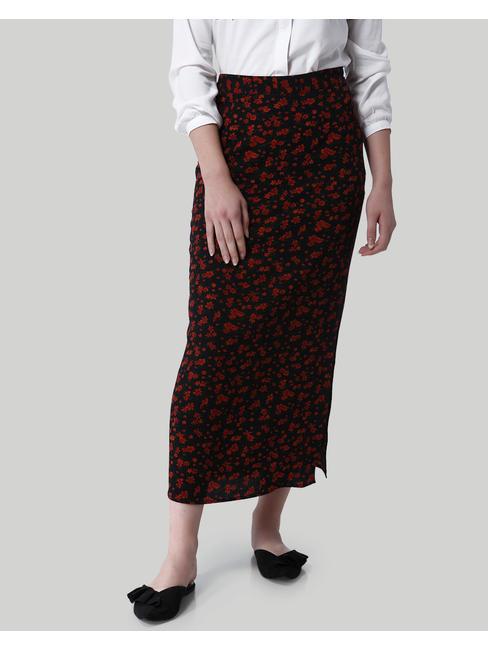 Black Floral Print Side Slit Maxi Skirt
