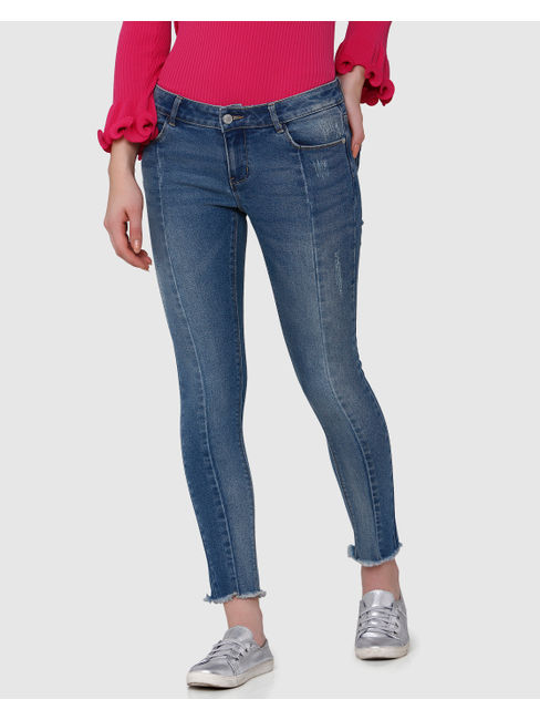 Blue Low Rise Skinny Fit Frayed Hem Jeans