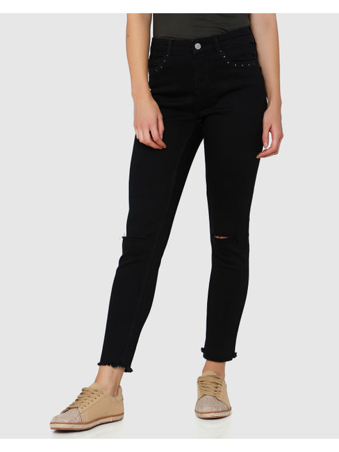 Black Mid Rise Knee Ripped Skinny Fit Jeans