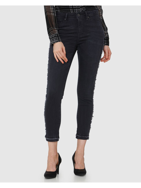 Grey Distressed & Frayed Detail Mid Rise Skinny Fit Jeans