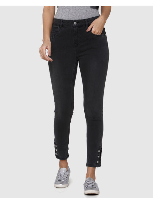 Grey High Waist Hardware Detail Skinny Fit Jeans