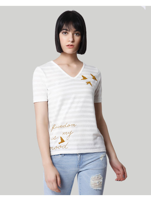 White Striped Text Print T-Shirt
