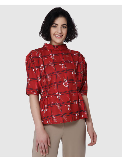 Red Floral Print Cinched Waist Check Top