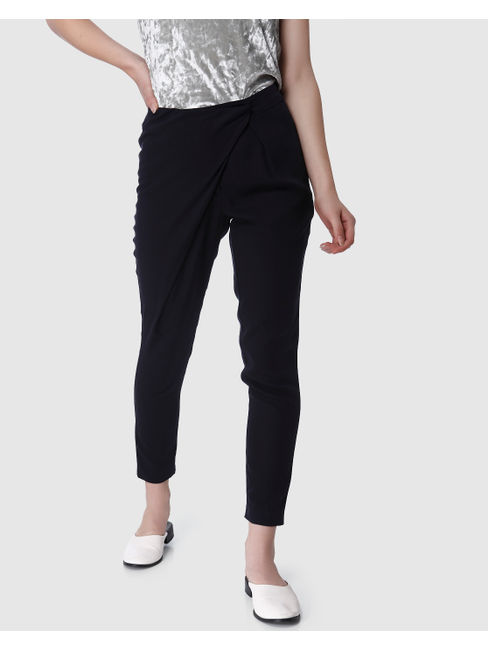 Navy Blue Mid Rise Regular Fit Pants